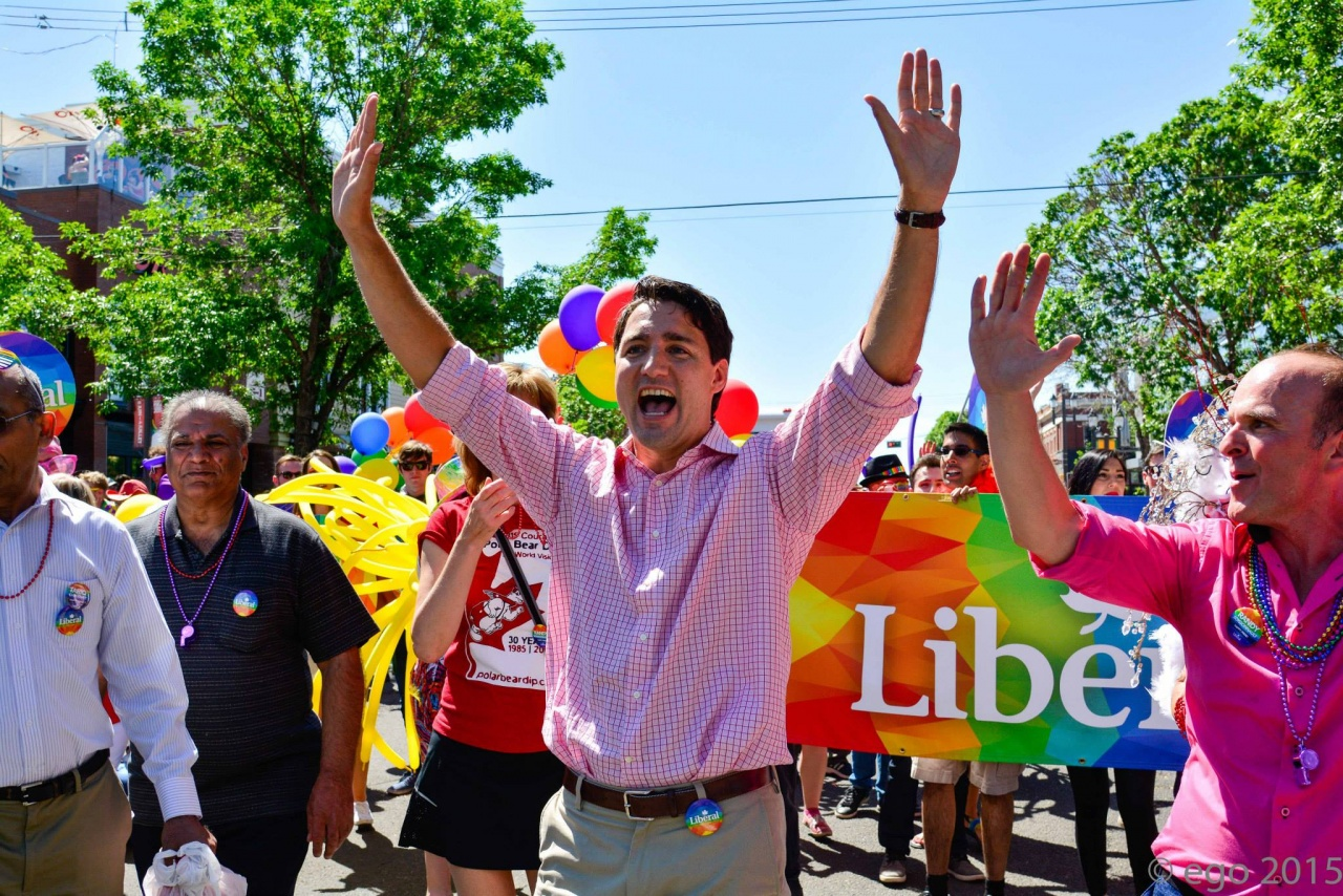 Trudeau walks in Edmonton Pride Parade.
